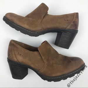 Shoes - Born boc Brown Leather Slip on Heel Booties
